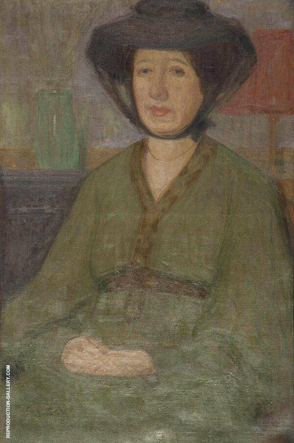 Portrait of a Seated Woman in a Green Dress Painting By Eugene Zak