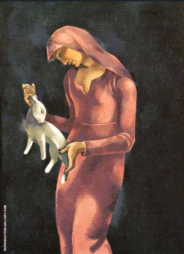 Woman with Rabbit By Eugene Zak