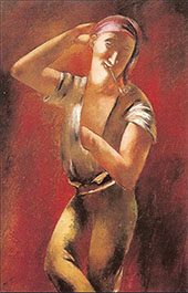 Young Man Smoking a Pipe By Eugene Zak