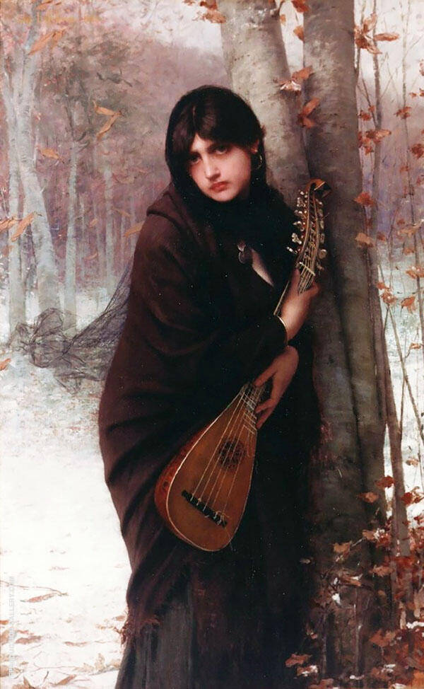 Girl with a Mandolin By Jules Joseph Lefebvre