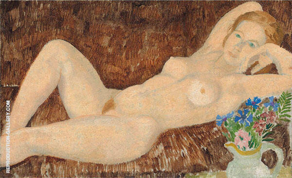 Reclining Nude with Flowers 1926 By Christopher Wood