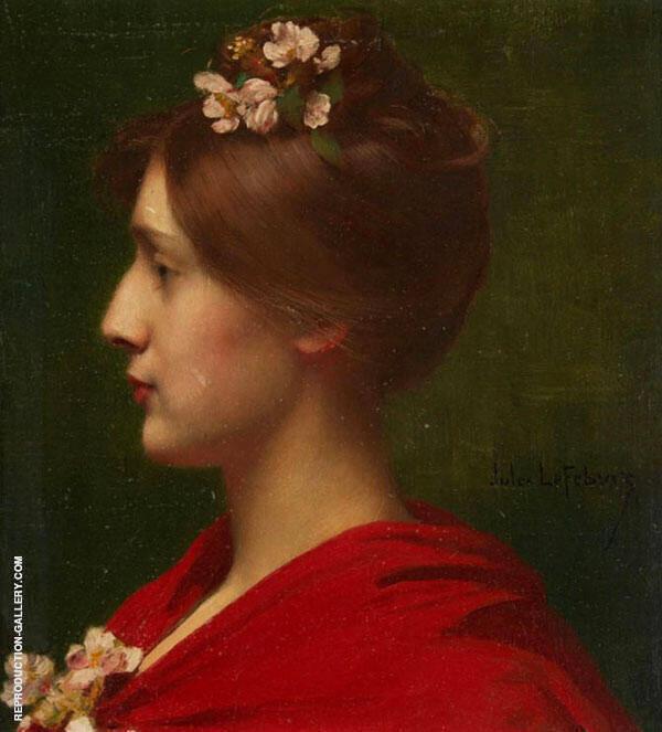 Jeune Femme de Profil aux Fleurs By Jules Joseph Lefebvre