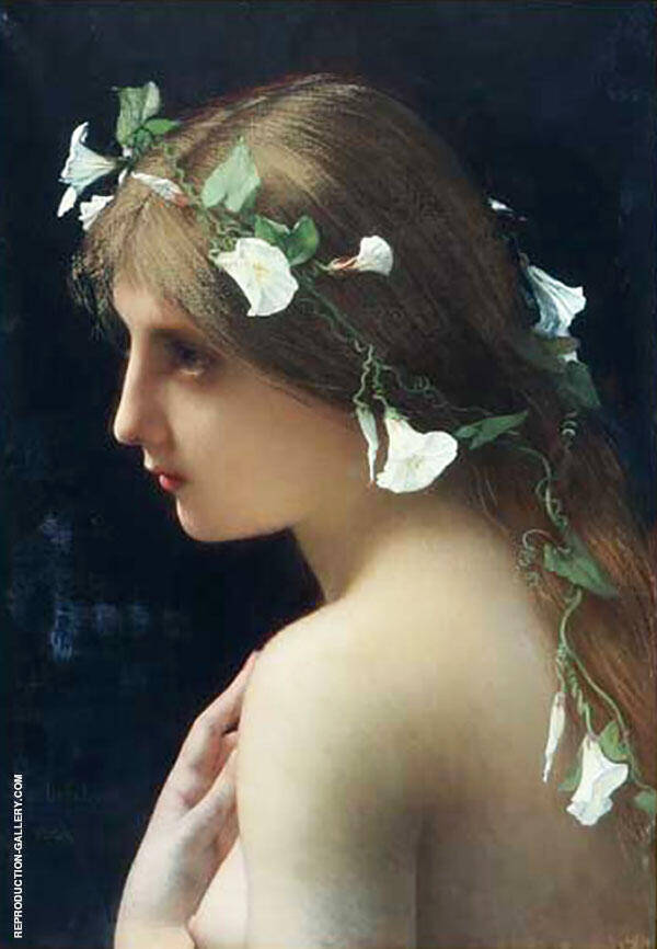 Nymph with Morning Glory Flowers Painting By Jules Joseph Lefebvre