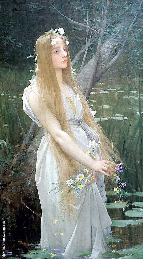 Ophelia Painting By Jules Joseph Lefebvre - Reproduction Gallery
