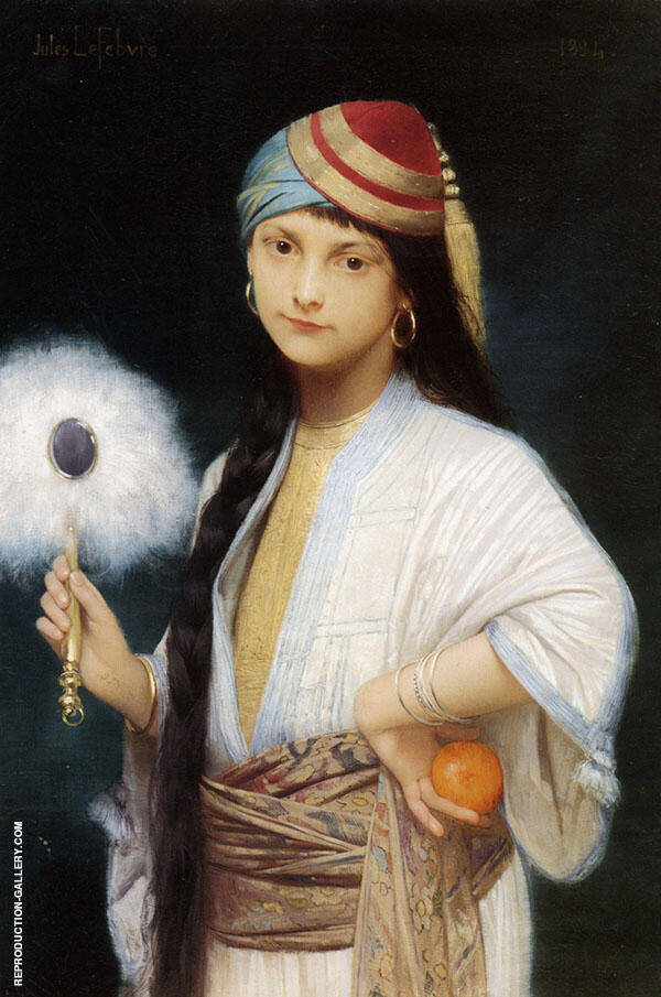 The Feathered Fan 1884 Painting By Jules Joseph Lefebvre