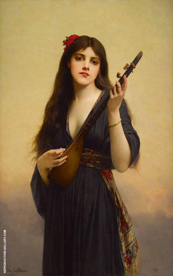 Woman Playing a Lute Painting By Jules Joseph Lefebvre
