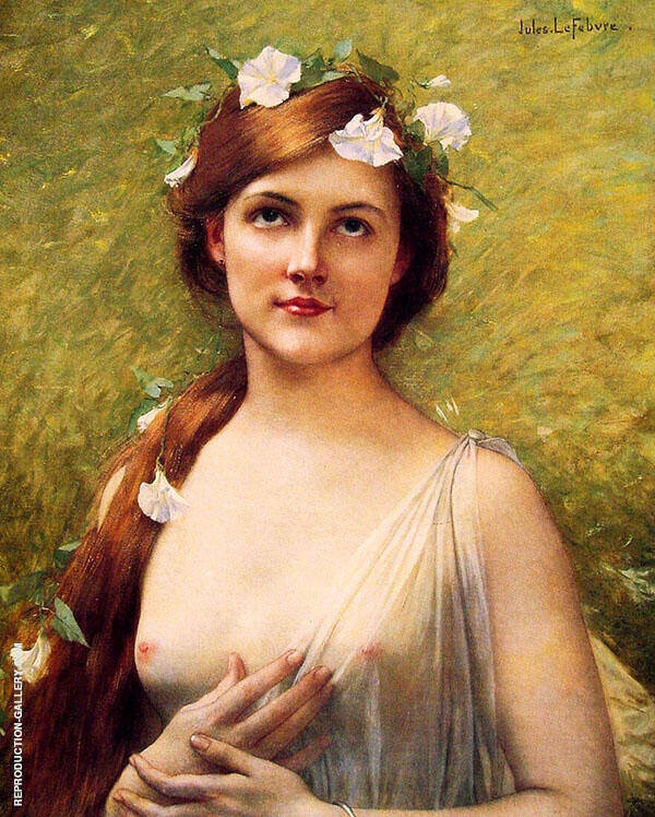Young Woman with Morning Glories in Her Hair Painting By ...