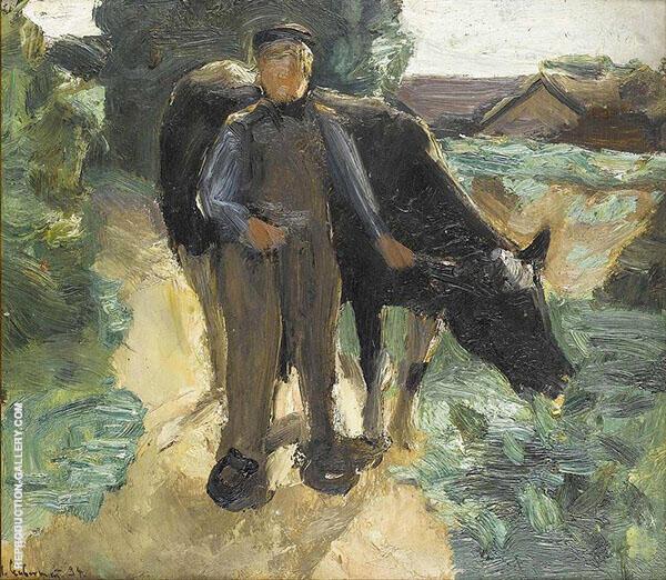 a Farmer with his Cow By Max Liebermann