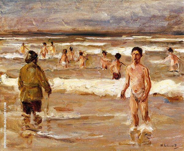 Children Bathing in The Sea By Max Liebermann