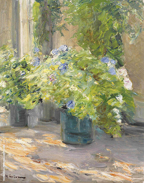 Flower Pots in Front of The House By Max Liebermann