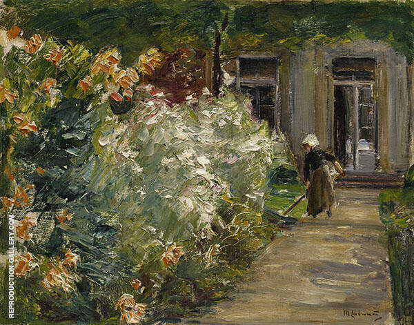 Gardener in front of The Flower Gardens at The Gardener's Cottage to The East By Max Liebermann