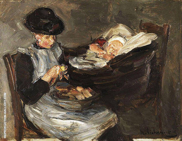 Girl from Laren Peeling Potatoes with Sleeping Child in a Basket c1887 By Max Liebermann