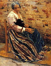 Old Woman with Cat By Max Liebermann