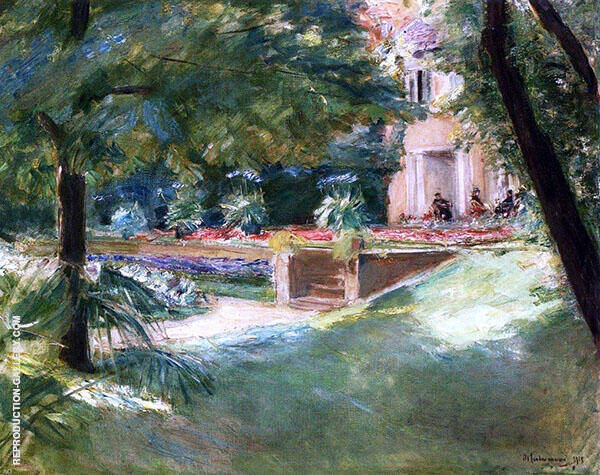 View of The Flower Terrace in The Wannsee Garden By Max Liebermann