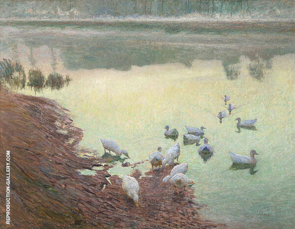Ducklings on The Riverbank 1900 By Emile Claus