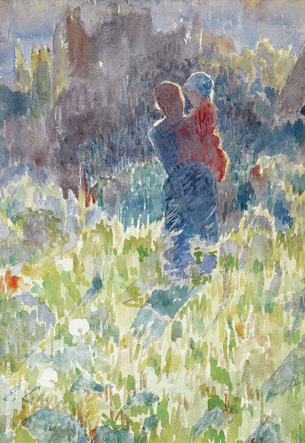 Mother and Child in a Sunlit Garden By Emile Claus