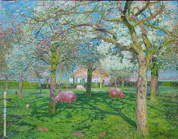 Orchard in Spring 1902 Painting By Emile Claus - Reproduction Gallery