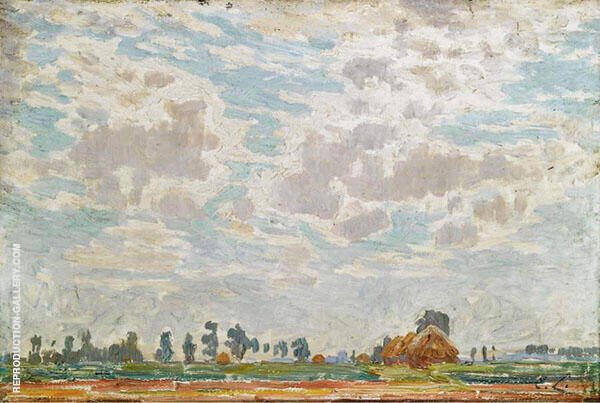 A Clouded Sky above a Belgian Farmhouse Painting By Emile Claus