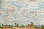 A Clouded Sky above a Belgian Farmhouse By Emile Claus