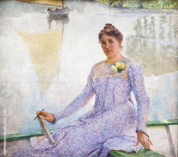 Portrait of The Artist Anna de Weert 1899 Painting By Emile Claus