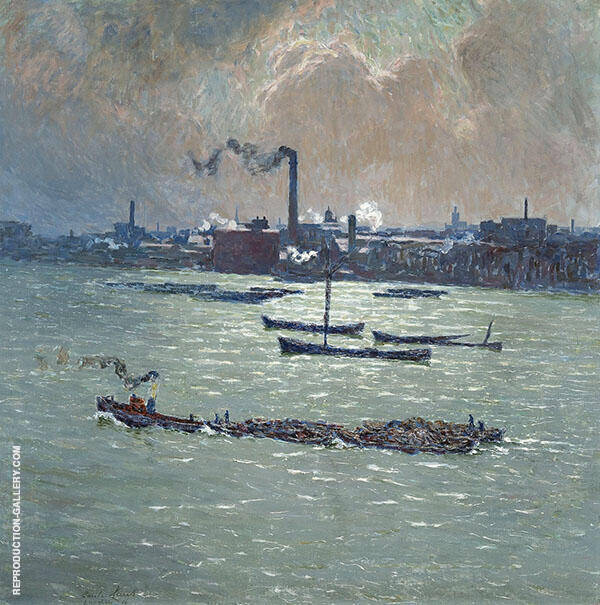 Reflections on The Thames Painting By Emile Claus - Reproduction Gallery