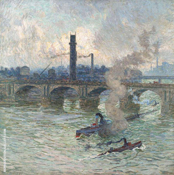 Steamboats on The Thames 1916 Painting By Emile Claus