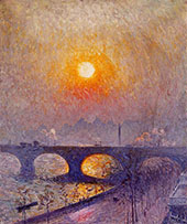 Sunset over Waterloo Bridge 1916 By Emile Claus