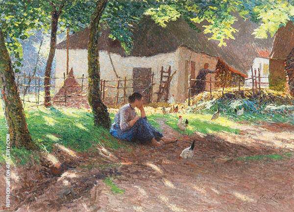 The Barnyard 1893 Painting By Emile Claus - Reproduction Gallery