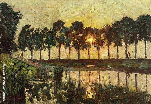 Trees by a Lake Sunset Painting By Emile Claus - Reproduction Gallery