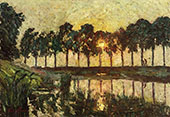 Trees by a Lake Sunset By Emile Claus