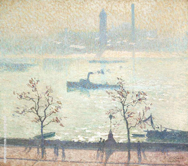 View of The Thames from The Embankment 1919 Painting By Emile Claus