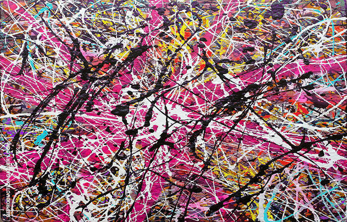 Inspired by, Magenta Landscape Painting By Jackson Pollock