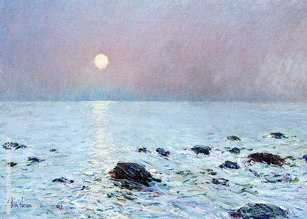 Moonrise, Isle of Shoals Painting By Childe Hassam - Reproduction Gallery