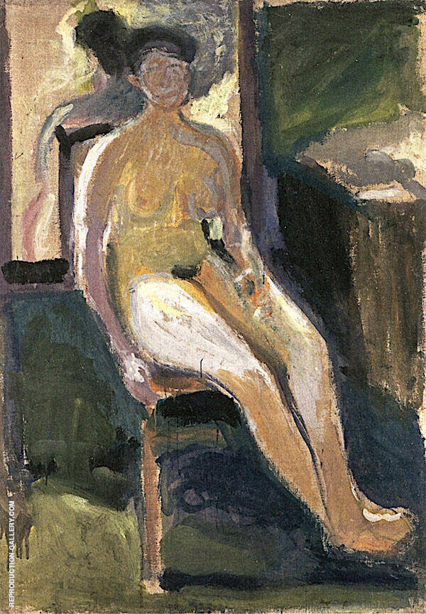 Sedted Female Nude 1908 By Richard Gerstl