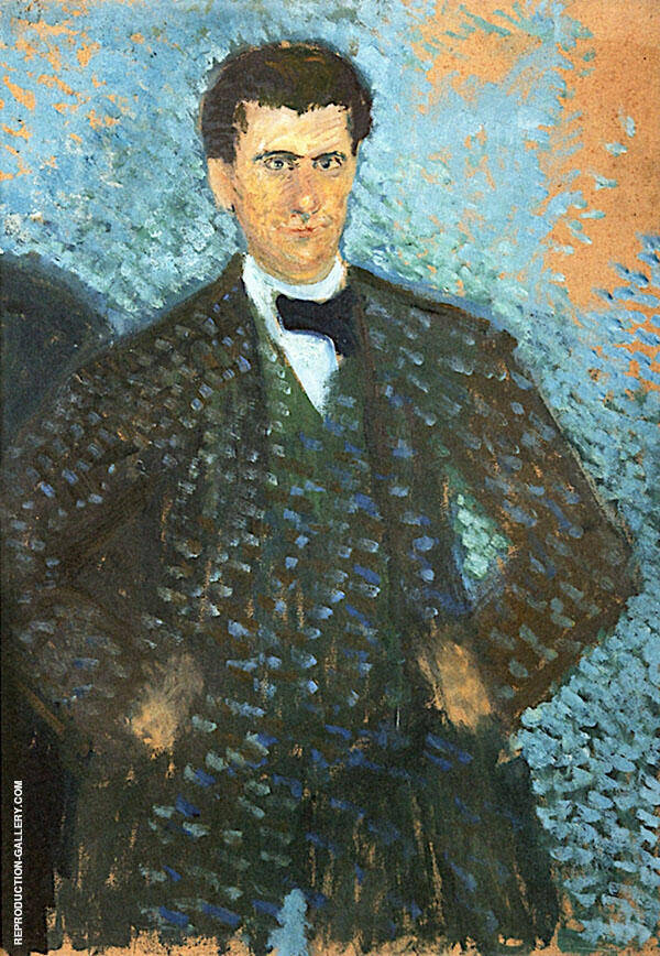 Self Portrait in front of Blue Green Background By Richard Gerstl