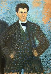 Self Portrait in front of Blue Green Background By Richard Gerstl