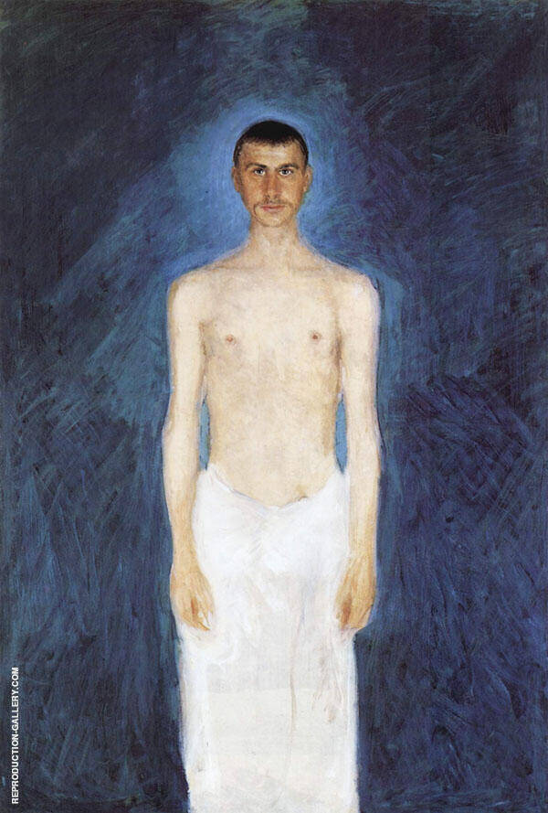 Semi Nude Self Portrait Against a Blie Background 1904 By Richard Gerstl