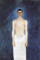 Semi Nude Self Portrait Against a Blie Background 1904 By Richard Gerstl