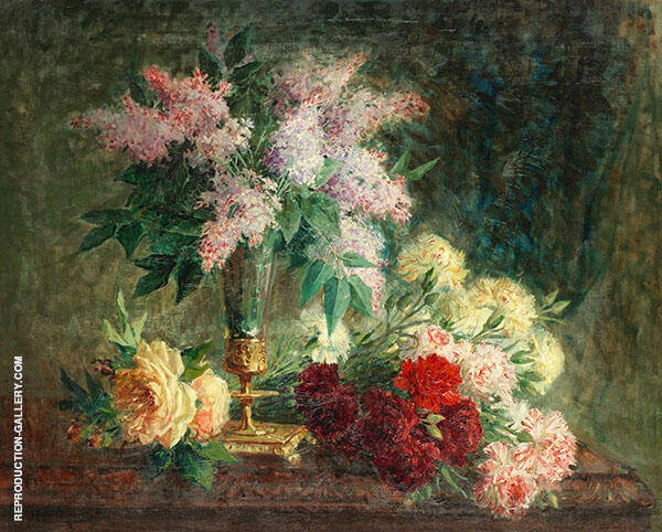 An Arrangement of Lilacs Roses and Carnations By Pierre Eugene Montezin