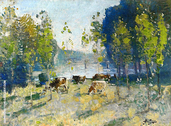 Animals by The River By Pierre Eugene Montezin