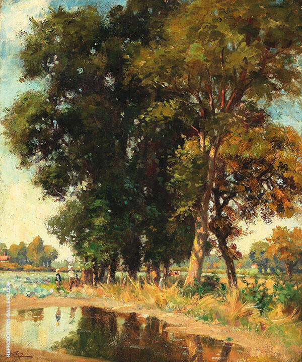 A Summers Day on The Pond By Pierre Eugene Montezin