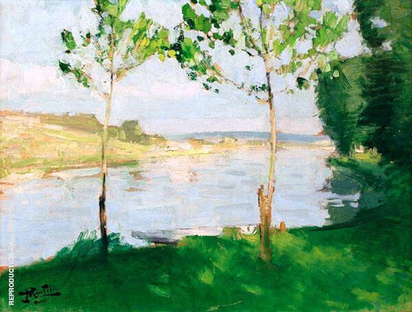 Banks of a River By Pierre Eugene Montezin