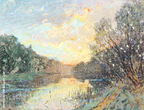 Banks of a River at Sunset By Pierre Eugene Montezin