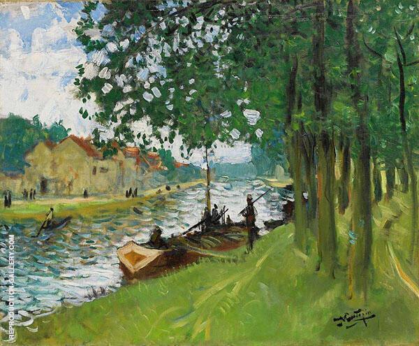 Barges at Saint Mammes By Pierre Eugene Montezin