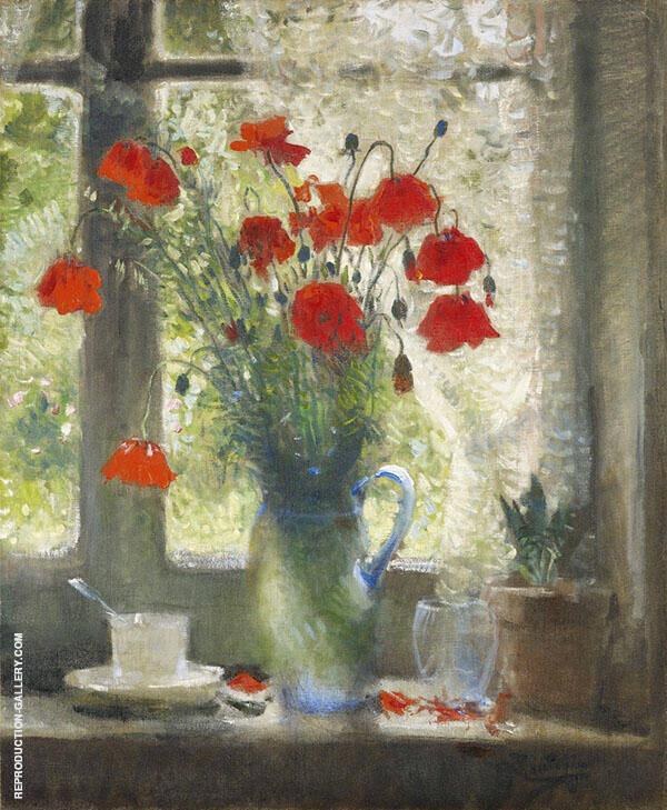 Bouquet of Popies in Window c1942 By Pierre Eugene Montezin