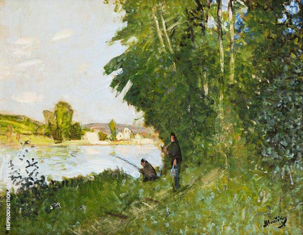 Landscape with Two Fisherman By Pierre Eugene Montezin