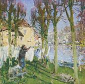 Laundress Hanging Washing By Pierre Eugene Montezin
