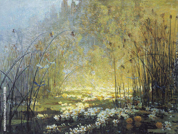 Pond with Waterlilies and Dragon Flies Painting By Pierre Eugene Montezin