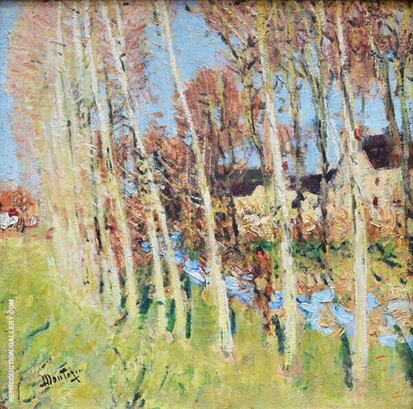 Poplar Trees near a Stream Painting By Pierre Eugene Montezin