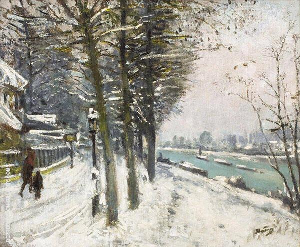 Promenade en Bord de Riviere Sous la Neige By Pierre Eugene Montezin